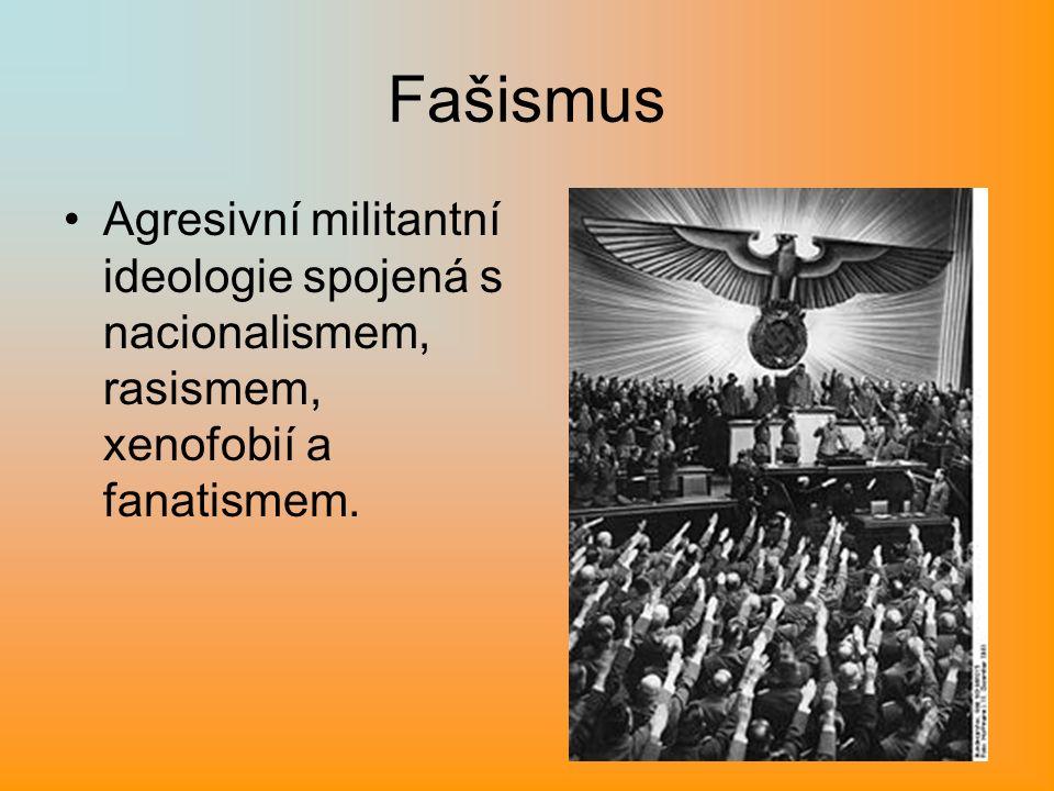 Fašismus Agresivní militantní ideologie spojená s nacionalismem, rasismem, xenofobií a fanatismem.