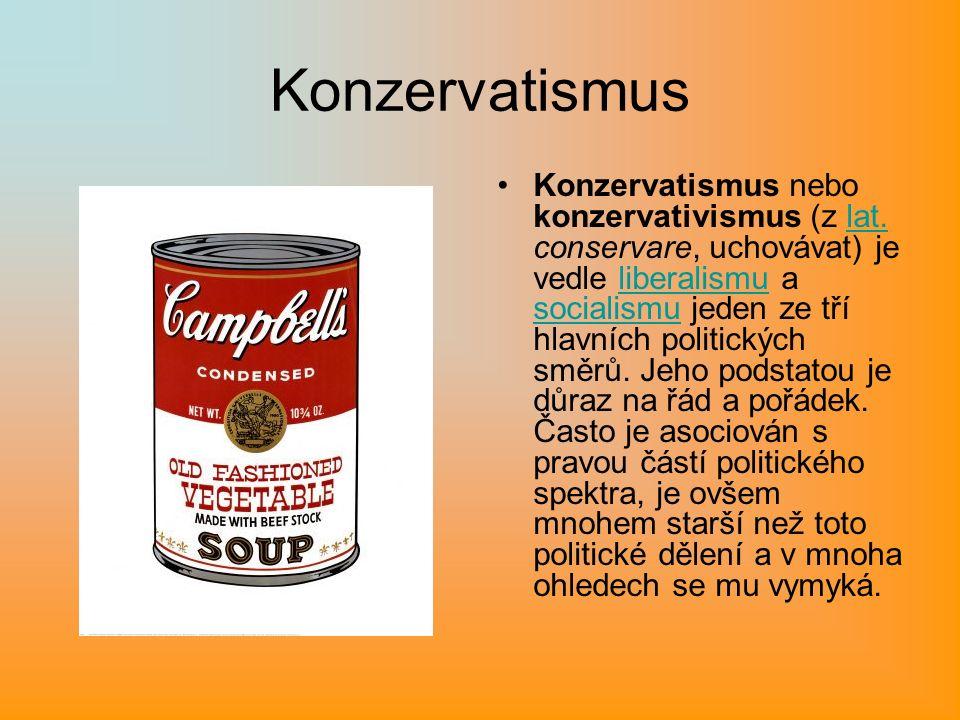Konzervatismus Konzervatismus nebo konzervativismus (z lat.