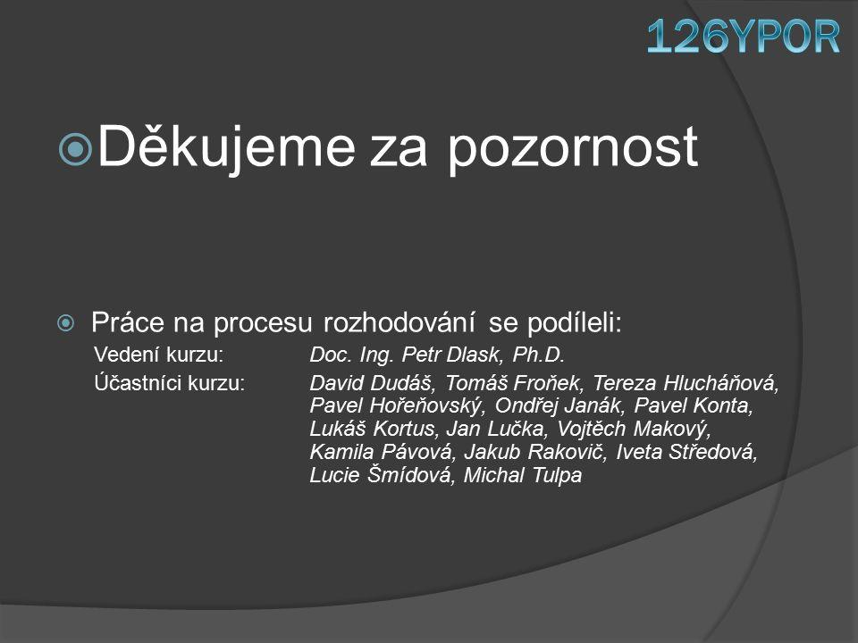  Děkujeme za pozornost  Práce na procesu rozhodování se podíleli: Vedení kurzu: Doc.