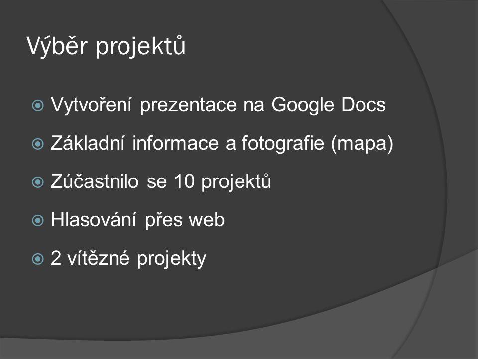 Výběr projektů  Vytvoření prezentace na Google Docs  Základní informace a fotografie (mapa)  Zúčastnilo se 10 projektů  Hlasování přes web  2 vítězné projekty