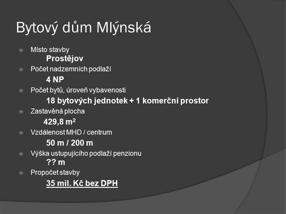  Místo stavby Prostějov  Počet nadzemních podlaží 4 NP  Počet bytů, úroveň vybavenosti 18 bytových jednotek + 1 komerční prostor  Zastavěná plocha 429,8 m 2  Vzdálenost MHD / centrum 50 m / 200 m  Výška ustupujícího podlaží penzionu .