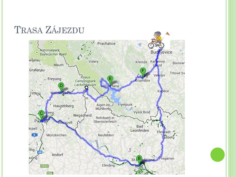1.D EN – PÁTEK 1.den – pátek 9:00 odjezd z Českých Budějovic 10:00 příjezd do Rainbach im Mühlkreichs 10:30 krátká cyklotrasa v blízkém okolí 11:30 přesun do Freistadtu 12:00 návštěva zámku a zámeckého muzea ve Freistadtu, oběd 13:15 přesun do Weinbergu 13:45 návštěva zámeckého pivovaru Weinberg 15:30 příjezd do Lince 16:00 ubytování v hotelu Austria Clssic Hotel Wolfingen 18:00 večeře v hotelu