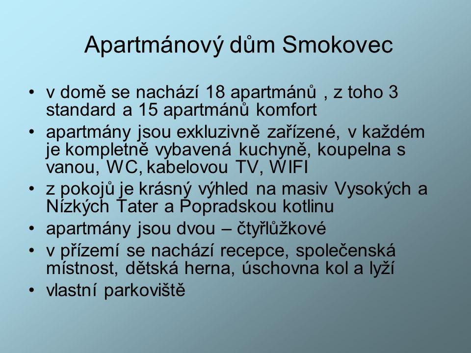 Apartmánový dům Smokovec v domě se nachází 18 apartmánů, z toho 3 standard a 15 apartmánů komfort apartmány jsou exkluzivně zařízené, v každém je komp