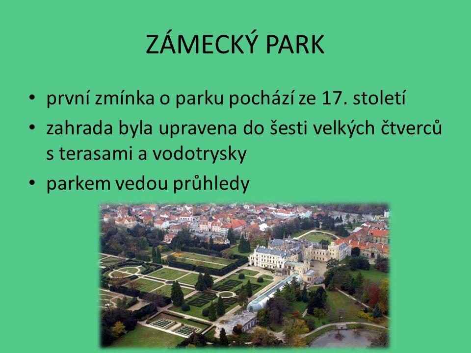 ZÁMECKÝ PARK první zmínka o parku pochází ze 17.
