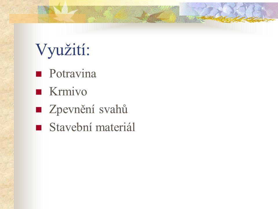 Využití: Potravina Krmivo Zpevnění svahů Stavební materiál
