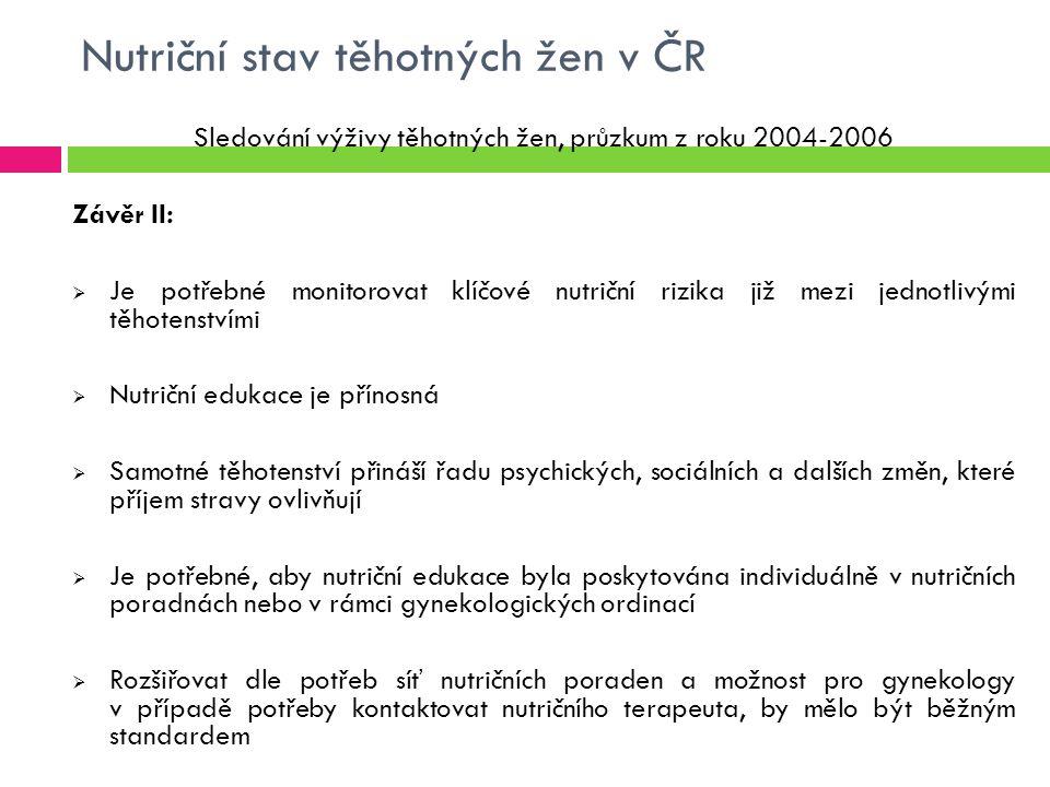 Nutriční stav těhotných žen v ČR Sledování výživy těhotných žen, průzkum z roku 2004-2006 Závěr II:  Je potřebné monitorovat klíčové nutriční rizika již mezi jednotlivými těhotenstvími  Nutriční edukace je přínosná  Samotné těhotenství přináší řadu psychických, sociálních a dalších změn, které příjem stravy ovlivňují  Je potřebné, aby nutriční edukace byla poskytována individuálně v nutričních poradnách nebo v rámci gynekologických ordinací  Rozšiřovat dle potřeb síť nutričních poraden a možnost pro gynekology v případě potřeby kontaktovat nutričního terapeuta, by mělo být běžným standardem
