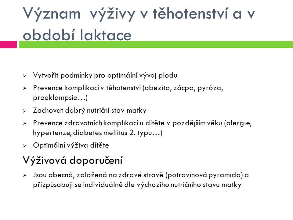 """Nutriční stav těhotných žen v ČR Průzkum z roku 2002 o primární prevenci v těhotenství  Odbornou radu o zásadách zdravé výživy v těhotenství v prenatální poradně získala téměř 1/3  2/3 byly lékařem poučeny o vhodnosti užívání přípravků s obsahem vitaminů a minerálních látek  Pojem """"potravinová pyramida znala 1/3 žen a necelá 1/5 se těmito zásadami snažila řídit  2/3 matek užívaly v těhotenství různé multivitaminové/minerálové přípravky, přičemž téměř 10 % si je kupovalo bez konzultace s lékařem Pozn."""