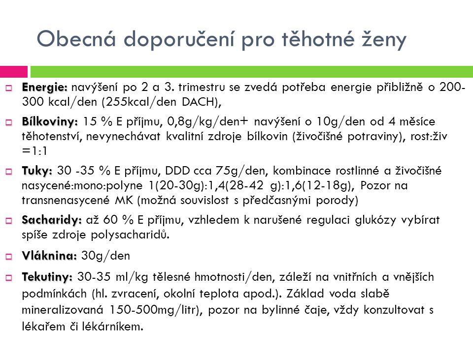 Obecná doporučení pro těhotné ženy  Energie:  Energie: navýšení po 2 a 3.
