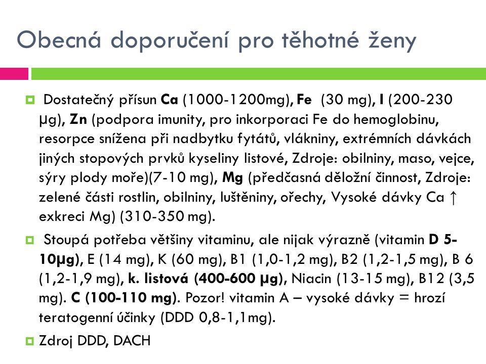 Obecná doporučení pro těhotné ženy  Dostatečný přísun Ca (1000-1200mg), Fe (30 mg), I (200-230 µg), Zn (podpora imunity, pro inkorporaci Fe do hemoglobinu, resorpce snížena při nadbytku fytátů, vlákniny, extrémních dávkách jiných stopových prvků kyseliny listové, Zdroje: obilniny, maso, vejce, sýry plody moře)(7-10 mg), Mg (předčasná děložní činnost, Zdroje: zelené části rostlin, obilniny, luštěniny, ořechy, Vysoké dávky Ca ↑ exkreci Mg) (310-350 mg).
