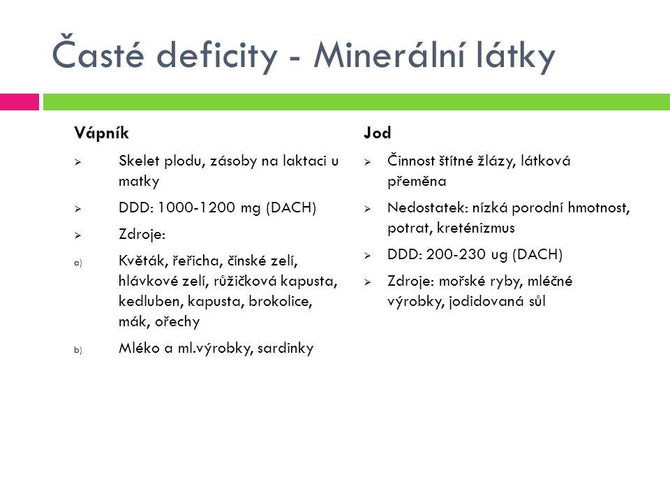 Časté deficity - Minerální látky Vápník  Skelet plodu, zásoby na laktaci u matky  DDD: 1000-1200 mg (DACH)  Zdroje: a) Květák, řeřicha, čínské zelí, hlávkové zelí, růžičková kapusta, kedluben, kapusta, brokolice, mák, ořechy b) Mléko a ml.výrobky, sardinky Jod  Činnost štítné žlázy, látková přeměna  Nedostatek: nízká porodní hmotnost, potrat, kreténizmus  DDD: 200-230 ug (DACH)  Zdroje: mořské ryby, mléčné výrobky, jodidovaná sůl