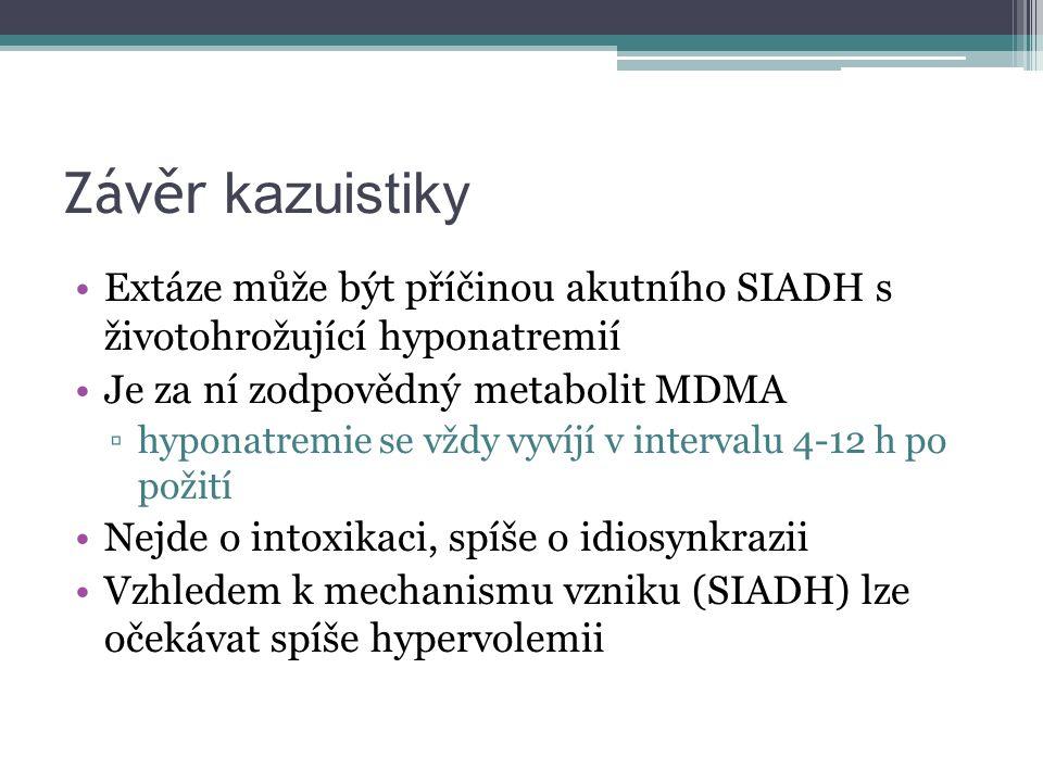 Závěr kazuistiky Extáze může být příčinou akutního SIADH s životohrožující hyponatremií Je za ní zodpovědný metabolit MDMA ▫hyponatremie se vždy vyvíjí v intervalu 4-12 h po požití Nejde o intoxikaci, spíše o idiosynkrazii Vzhledem k mechanismu vzniku (SIADH) lze očekávat spíše hypervolemii