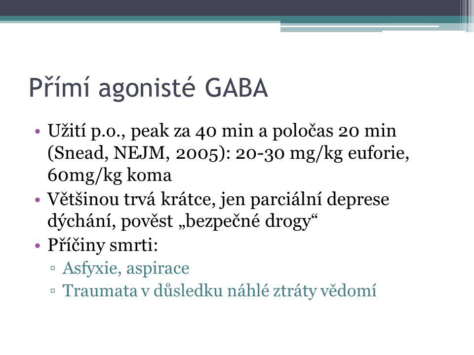 """Přímí agonisté GABA Užití p.o., peak za 40 min a poločas 20 min (Snead, NEJM, 2005): 20-30 mg/kg euforie, 60mg/kg koma Většinou trvá krátce, jen parciální deprese dýchání, pověst """"bezpečné drogy Příčiny smrti: ▫Asfyxie, aspirace ▫Traumata v důsledku náhlé ztráty vědomí"""