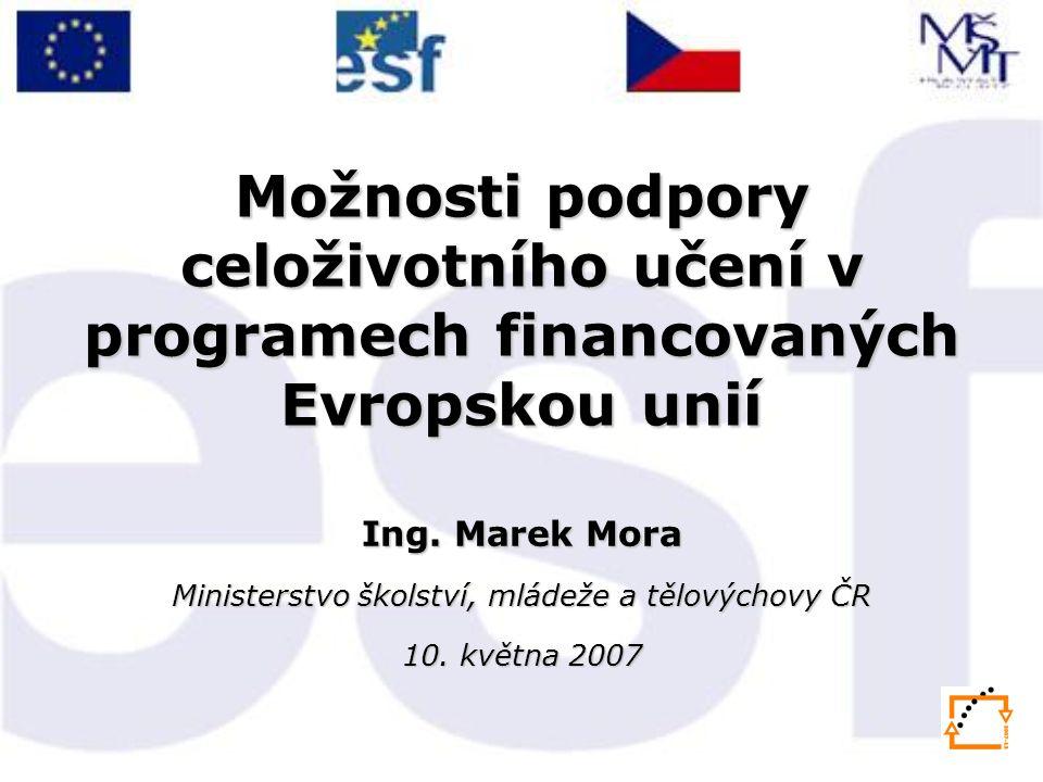 Možnosti podpory celoživotního učení v programech financovaných Evropskou unií Ing.