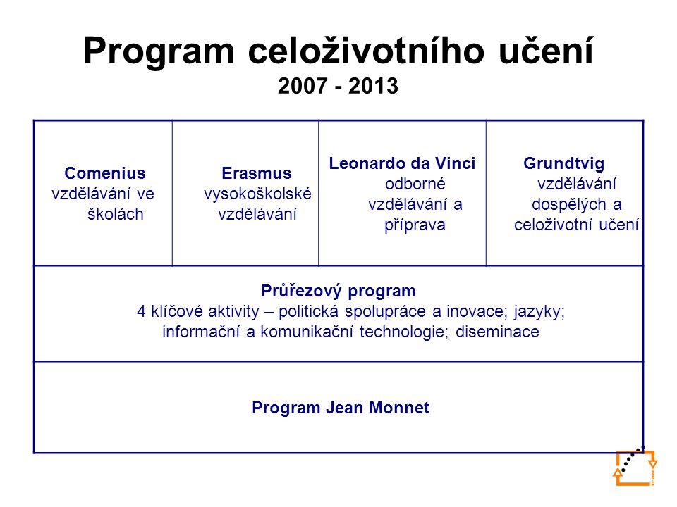 Program celoživotního učení 2007 - 2013 Comenius vzdělávání ve školách Erasmus vysokoškolské vzdělávání Leonardo da Vinci odborné vzdělávání a příprava Grundtvig vzdělávání dospělých a celoživotní učení Průřezový program 4 klíčové aktivity – politická spolupráce a inovace; jazyky; informační a komunikační technologie; diseminace Program Jean Monnet
