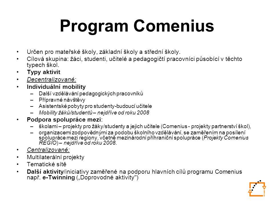 Program Comenius Určen pro mateřské školy, základní školy a střední školy.