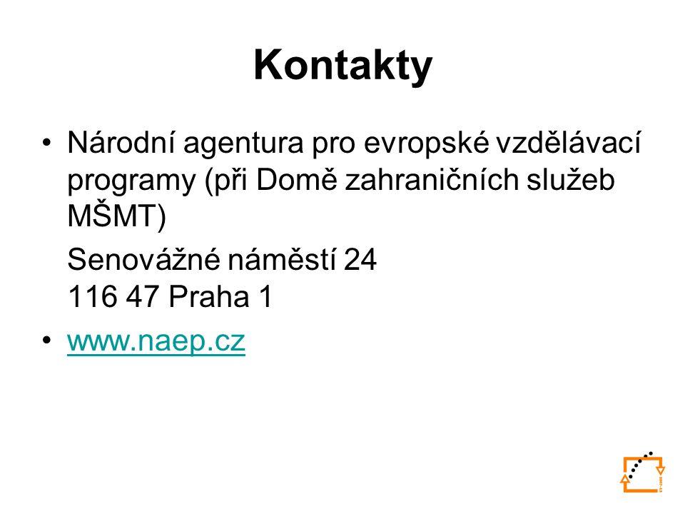 Kontakty Národní agentura pro evropské vzdělávací programy (při Domě zahraničních služeb MŠMT) Senovážné náměstí 24 116 47 Praha 1 www.naep.cz