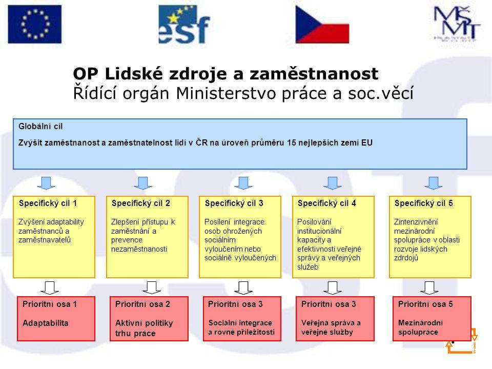 Globální cíl Zvýšit zaměstnanost a zaměstnatelnost lidí v ČR na úroveň průměru 15 nejlepších zemí EU Specifický cíl 1 Zvýšení adaptability zaměstnanců a zaměstnavatelů Prioritní osa 1 Adaptabilita Prioritní osa 3 Sociální integrace a rovné příležitosti Prioritní osa 2 Aktivní politiky trhu práce OP Lidské zdroje a zaměstnanost Řídící orgán Ministerstvo práce a soc.věcí Specifický cíl 2 Zlepšení přístupu k zaměstnání a prevence nezaměstnanosti Specifický cíl 3 Posílení integrace osob ohrožených sociálním vyloučením nebo sociálně vyloučených Specifický cíl 4 Posilování institucionální kapacity a efektivnosti veřejné správy a veřejných služeb Specifický cíl 5 Zintenzivnění mezinárodní spolupráce v oblasti rozvoje lidských zdrdojů Prioritní osa 3 Veřejná správa a veřejné služby Prioritní osa 5 Mezinárodní spolupráce