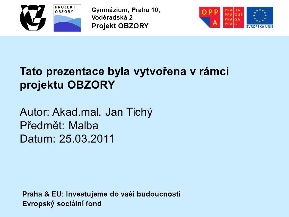 Praha & EU: Investujeme do vaší budoucnosti Evropský sociální fond Gymnázium, Praha 10, Voděradská 2 Projekt OBZORY Tato prezentace byla vytvořena v rámci projektu OBZORY Autor: Akad.mal.