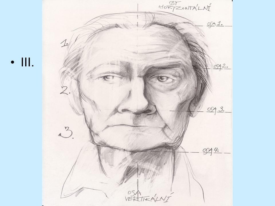 b) Využíváme znalost kresby oka – akcent pod víčko – klenutí a modelace bulvy c) Kresba rtů – horní ret modelujeme stínem spodní ret světlem d) Charakter nosu e) Důležitou součástí je zdroj světla určující stínování a tmavá místa.