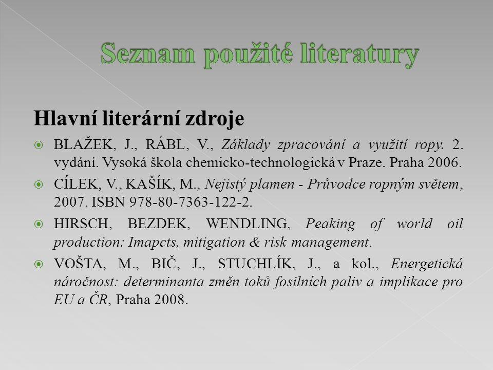 Hlavní literární zdroje  BLAŽEK, J., RÁBL, V., Základy zpracování a využití ropy. 2. vydání. Vysoká škola chemicko-technologická v Praze. Praha 2006.
