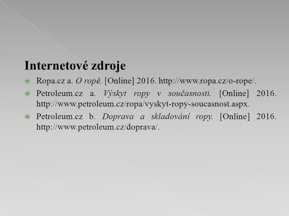 Internetové zdroje  Ropa.cz a. O ropě. [Online] 2016. http://www.ropa.cz/o-rope/.  Petroleum.cz a. Výskyt ropy v současnosti. [Online] 2016. http://