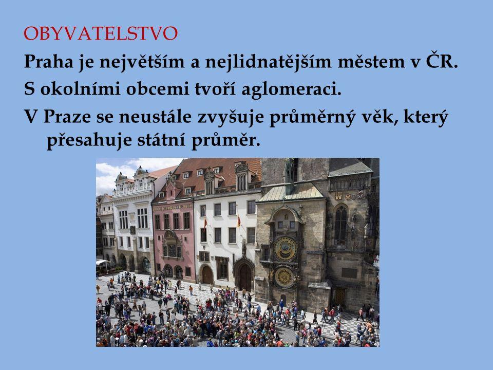 OBYVATELSTVO Praha je největším a nejlidnatějším městem v ČR. S okolními obcemi tvoří aglomeraci. V Praze se neustále zvyšuje průměrný věk, který přes
