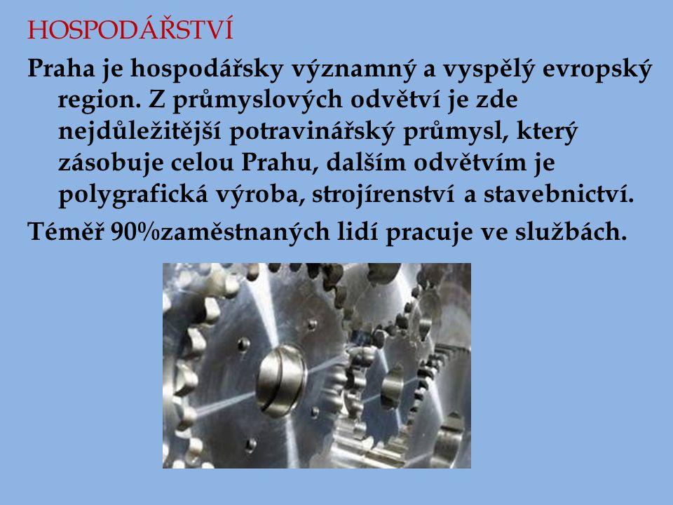 HOSPODÁŘSTVÍ Praha je hospodářsky významný a vyspělý evropský region. Z průmyslových odvětví je zde nejdůležitější potravinářský průmysl, který zásobu