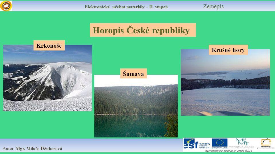 Elektronické učební materiály - II. stupeň Zeměpis Autor: Mgr.