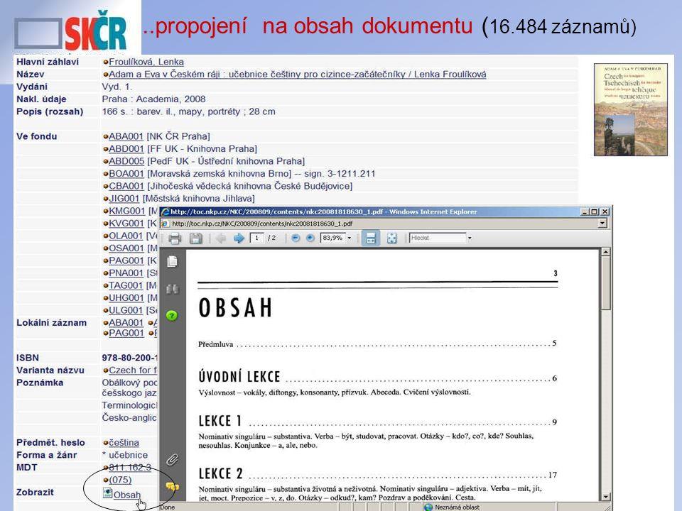 22..propojení na obsah dokumentu ( 16.484 záznamů)