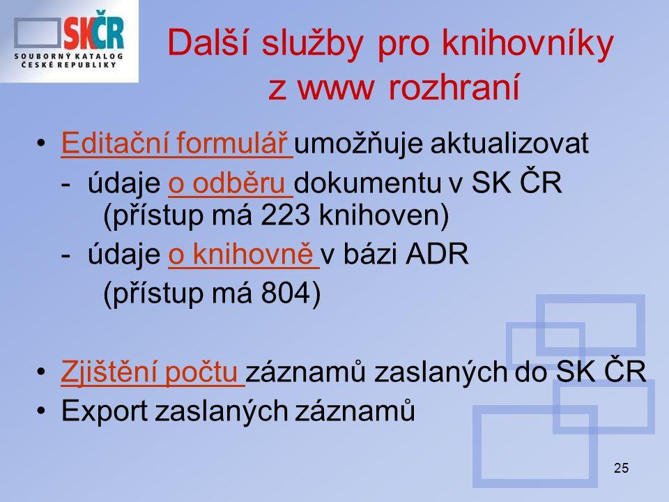 25 Další služby pro knihovníky z www rozhraní Editační formulář umožňuje aktualizovatEditační formulář - údaje o odběru dokumentu v SK ČR (přístup má 223 knihoven)o odběru - údaje o knihovně v bázi ADRo knihovně (přístup má 804) Zjištění počtu záznamů zaslaných do SK ČRZjištění počtu Export zaslaných záznamů