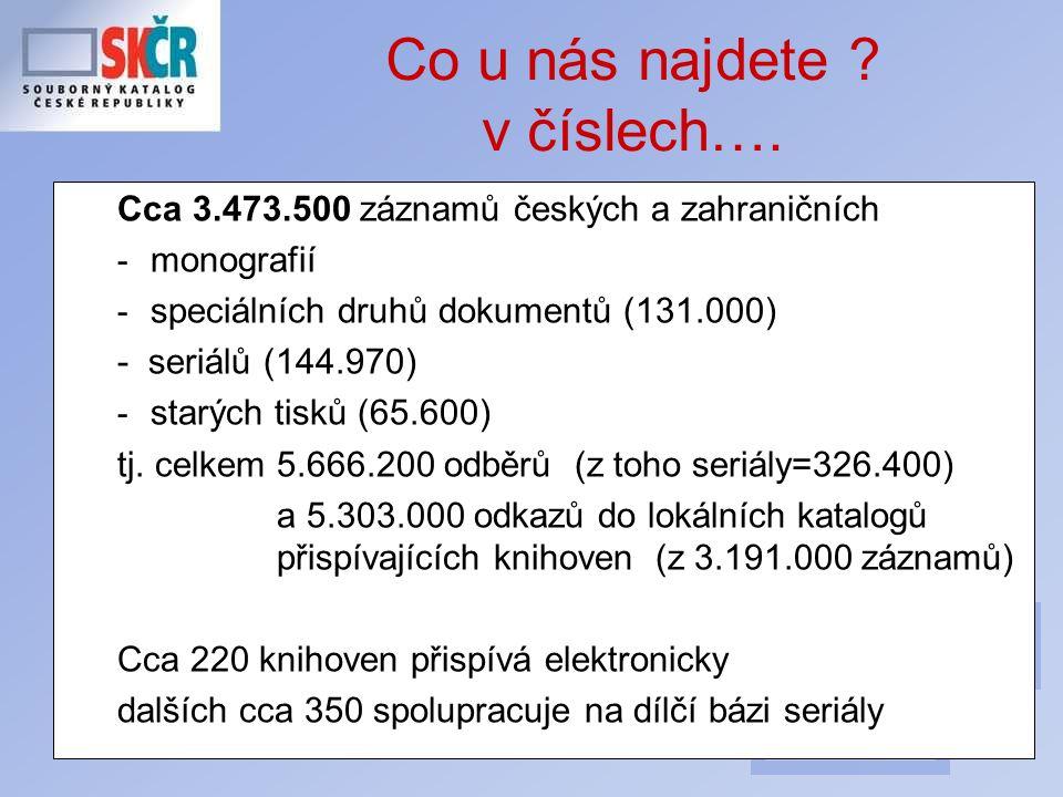 29 Co u nás najdete ? v číslech…. Cca 3.473.500 záznamů českých a zahraničních - monografií - speciálních druhů dokumentů (131.000) - seriálů (144.970