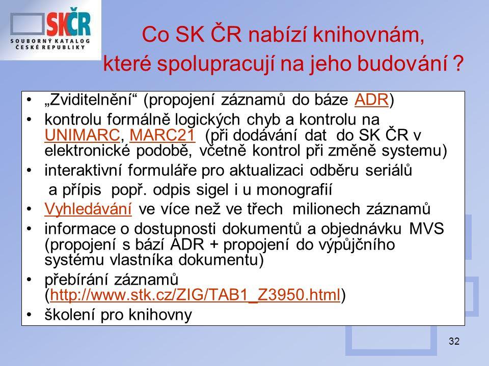 """32 Co SK ČR nabízí knihovnám, které spolupracují na jeho budování ? """"Zviditelnění"""" (propojení záznamů do báze ADR)ADR kontrolu formálně logických chyb"""