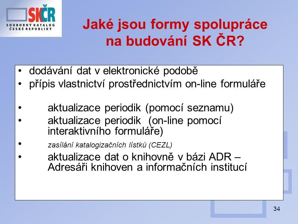 34 Jaké jsou formy spolupráce na budování SK ČR? dodávání dat v elektronické podobě přípis vlastnictví prostřednictvím on-line formuláře aktualizace p
