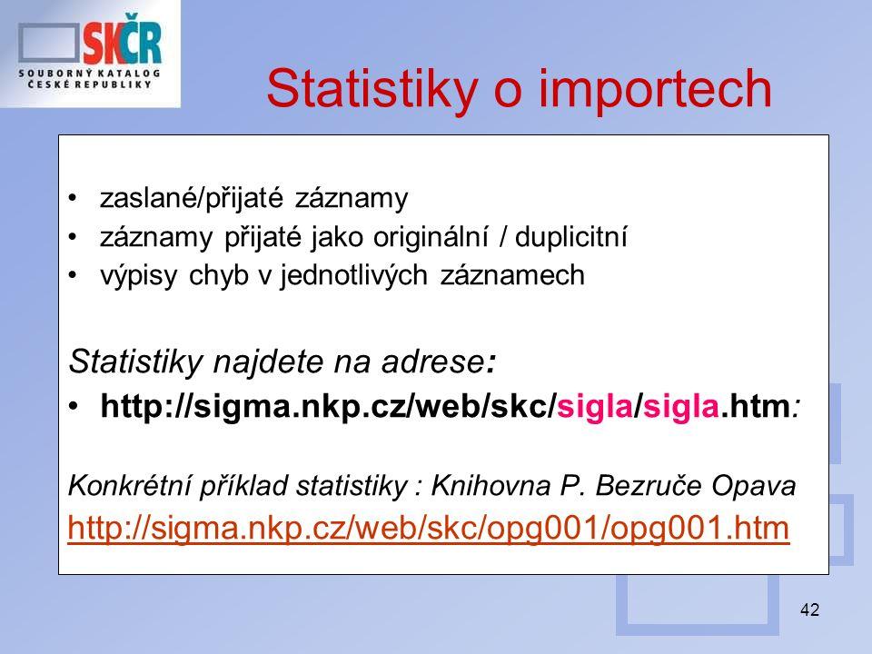 42 Statistiky o importech zaslané/přijaté záznamy záznamy přijaté jako originální / duplicitní výpisy chyb v jednotlivých záznamech Statistiky najdete