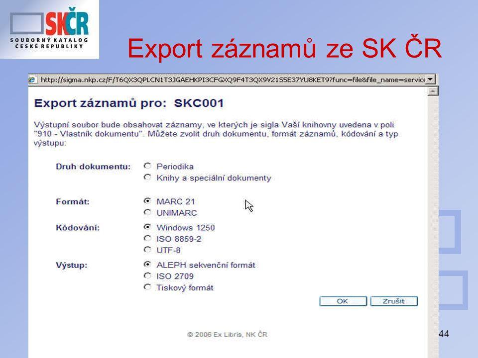 44 Export záznamů ze SK ČR