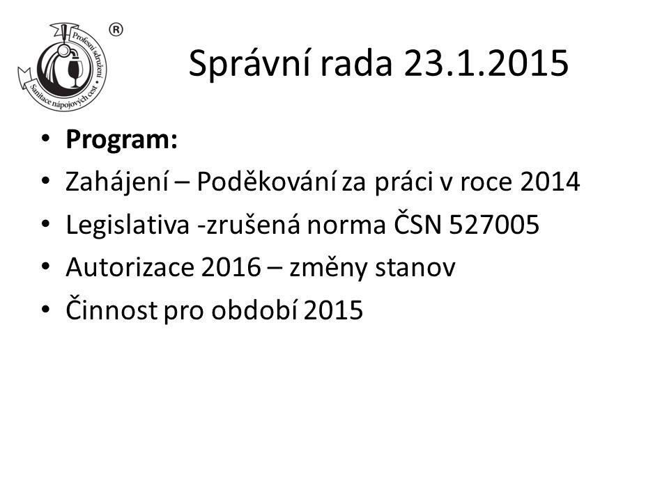 Správní rada 23.1.2015 Program: Zahájení – Poděkování za práci v roce 2014 Legislativa -zrušená norma ČSN 527005 Autorizace 2016 – změny stanov Činnost pro období 2015