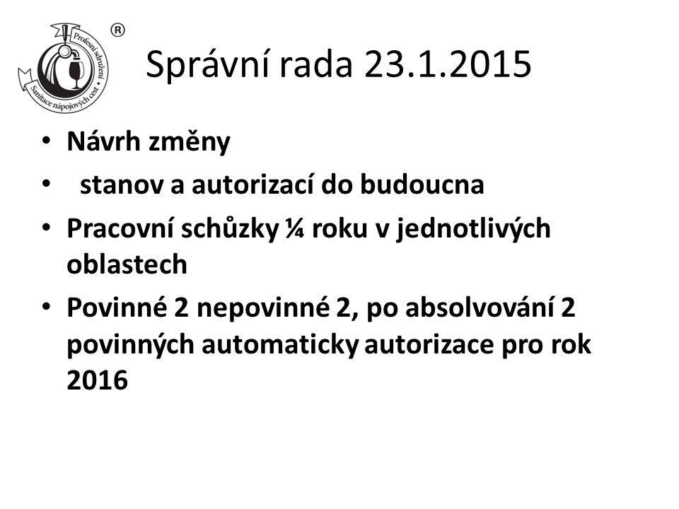 Správní rada 23.1.2015 Návrh změny stanov a autorizací do budoucna Pracovní schůzky ¼ roku v jednotlivých oblastech Povinné 2 nepovinné 2, po absolvování 2 povinných automaticky autorizace pro rok 2016