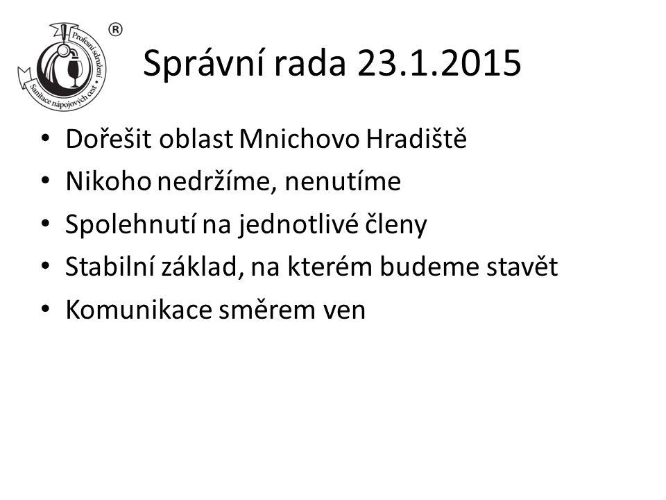 Správní rada 23.1.2015 Dořešit oblast Mnichovo Hradiště Nikoho nedržíme, nenutíme Spolehnutí na jednotlivé členy Stabilní základ, na kterém budeme stavět Komunikace směrem ven
