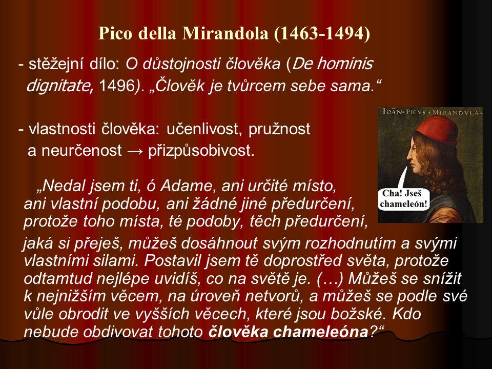 Pico della Mirandola (1463-1494) - stěžejní dílo: O důstojnosti člověka ( De hominis dignitate, 1496).