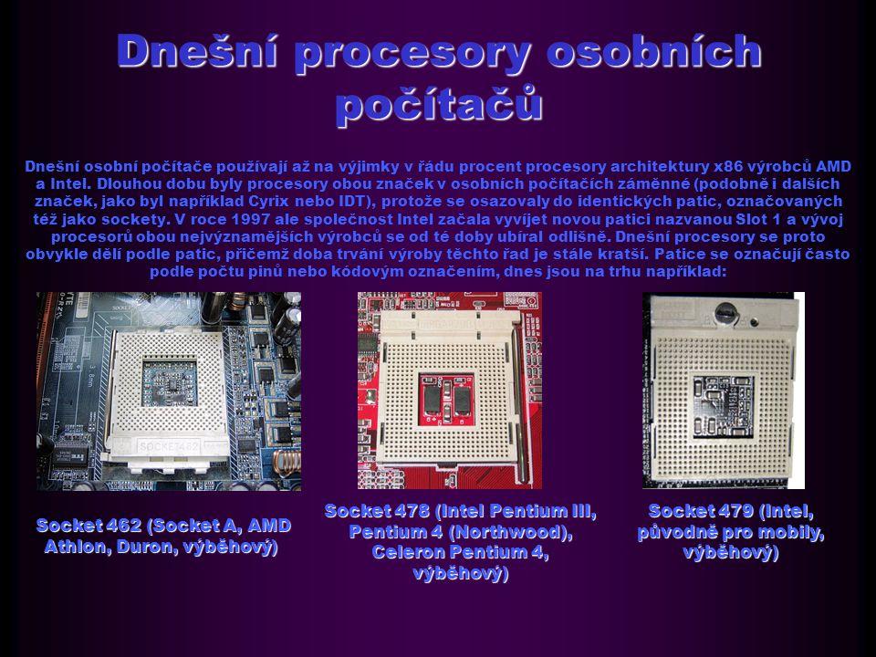 Dnešní procesory osobních počítačů Dnešní osobní počítače používají až na výjimky v řádu procent procesory architektury x86 výrobců AMD a Intel.