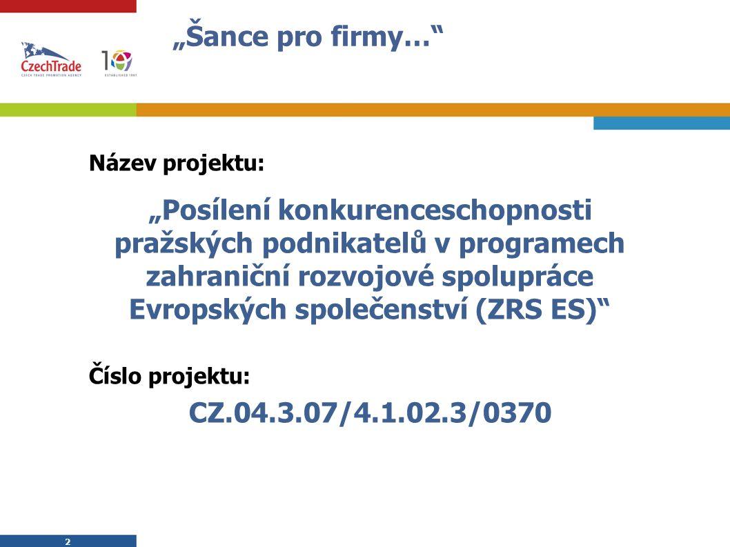 3 3 Informace o projektu Žadatel: Česká agentura na podporu obchodu CzechTrade Partner: DIREKTA GROUP s.r.o.