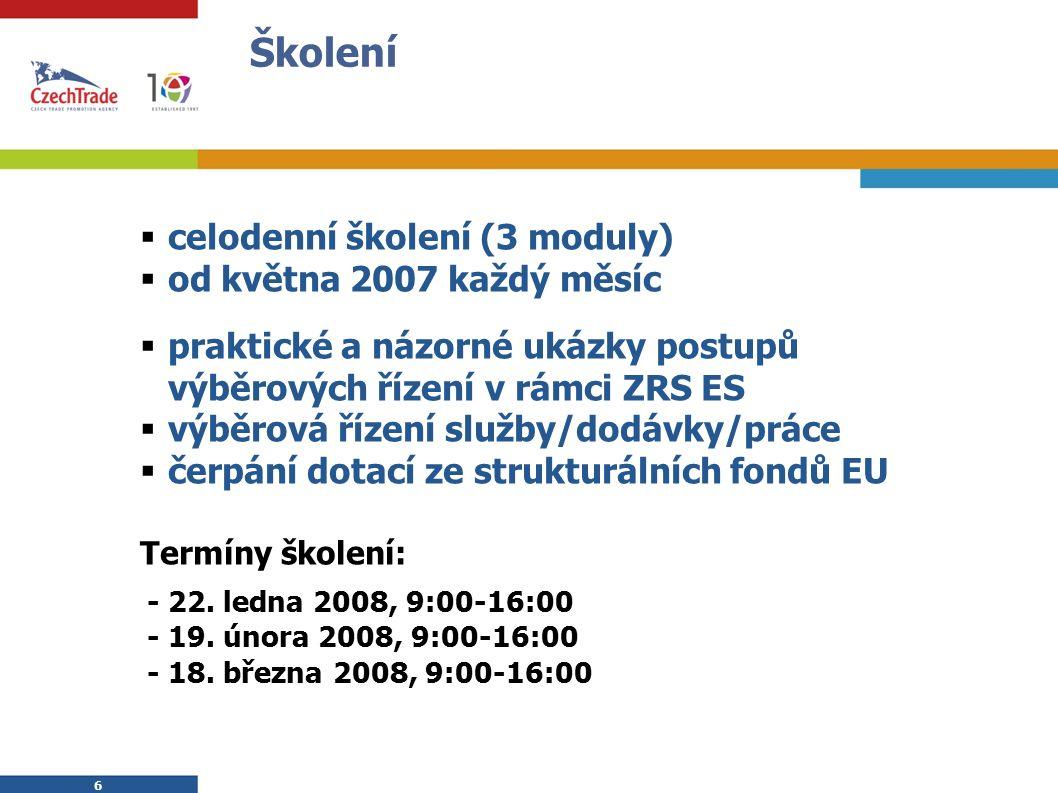 6 6 Školení  celodenní školení (3 moduly)  od května 2007 každý měsíc  praktické a názorné ukázky postupů výběrových řízení v rámci ZRS ES  výběrová řízení služby/dodávky/práce  čerpání dotací ze strukturálních fondů EU Termíny školení: - 22.