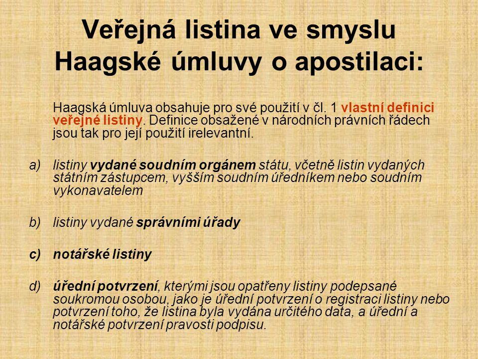 Veřejná listina ve smyslu Haagské úmluvy o apostilaci: Haagská úmluva obsahuje pro své použití v čl. 1 vlastní definici veřejné listiny. Definice obsa