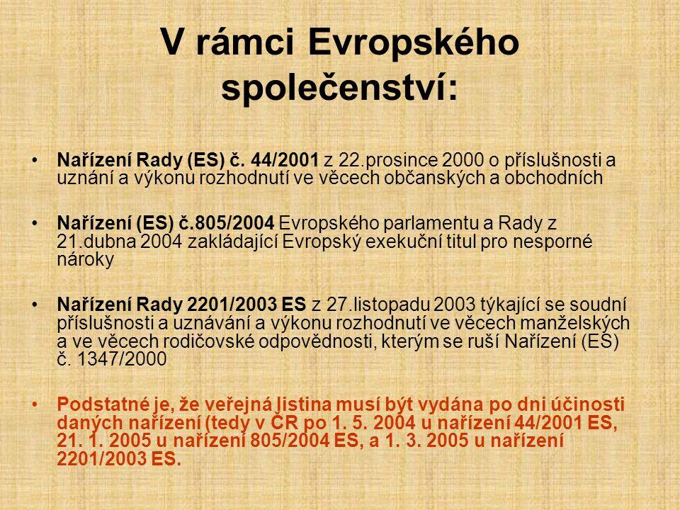 V rámci Evropského společenství: Nařízení Rady (ES) č.