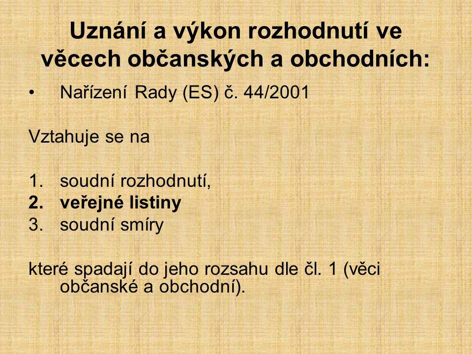 Uznání a výkon rozhodnutí ve věcech občanských a obchodních: Nařízení Rady (ES) č.