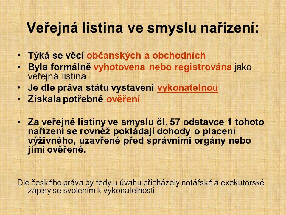Veřejná listina ve smyslu nařízení: Týká se věcí občanských a obchodních Byla formálně vyhotovena nebo registrována jako veřejná listina Je dle práva