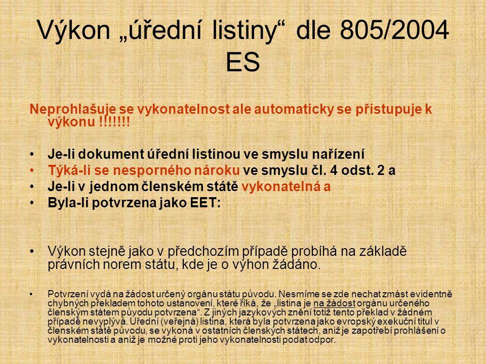 """Výkon """"úřední listiny"""" dle 805/2004 ES Neprohlašuje se vykonatelnost ale automaticky se přistupuje k výkonu !!!!!!! Je-li dokument úřední listinou ve"""