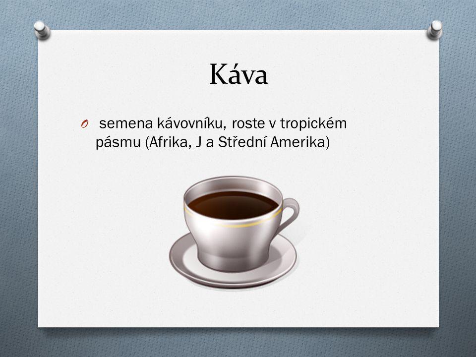 Káva O semena kávovníku, roste v tropickém pásmu (Afrika, J a Střední Amerika)