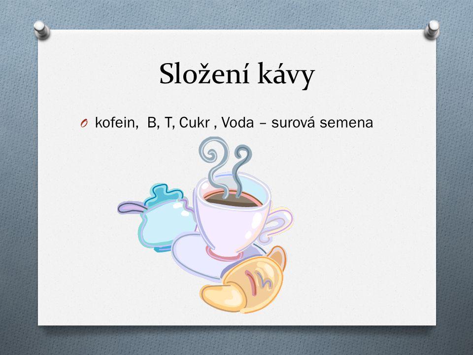 Složení kávy O kofein, B, T, Cukr, Voda – surová semena