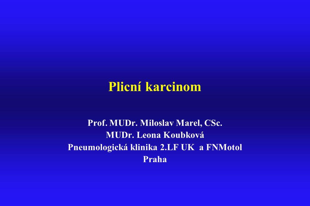 Plicní karcinom Prof. MUDr. Miloslav Marel, CSc. MUDr. Leona Koubková Pneumologická klinika 2.LF UK a FNMotol Praha